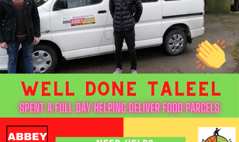 Abbey Swift driver helps in delivering food parcels